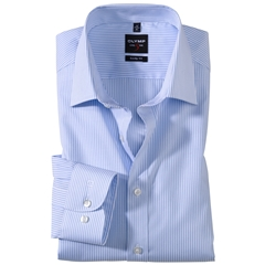 Olymp Level Five Body Fit Shirt - Fine Stripe - Light Blue