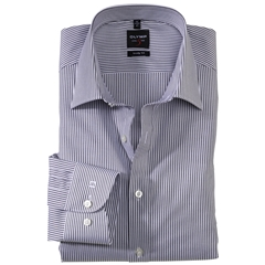 Olymp Level Five Body Fit Shirt - Fine Stripe - Black