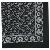 Black Neat Paisley Design Bandana or Large Handkerchief