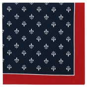 Large Fleur De Lys Bandana or Large Handkerchief - Navy Red