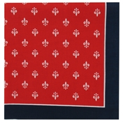 Large Fleur De Lys Bandana or Large Handkerchief -   Red Navy