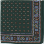 Green Neat Paisley Design Bandana or Large Handkerchief