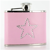Pink Hip Flask 4oz (FL7) - Pink Flask With Star Diamonte Detail