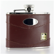 Hip Flask 4oz (FL9 ) - Brown Leather & Steel Excellent Quality Hip Flask