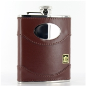 Hip Flask 6oz (FL10)- Brown Leather & Steel Excellent Quality Hip Flask