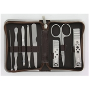 8 Piece Brown Mock Croc Travel Manicure Set For Men (MMS6)