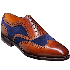 Barker Shoes Style: Cambridge - Brown Calf/Navy Suede