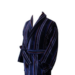 Men's Luxury Velour Dressing Gown - Navy, Red and Sky Stripe