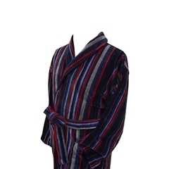 Men's Luxury Velour Dressing Gown - Navy, Grey and Red Multi Stripes