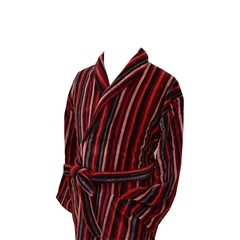 Men's Luxury Velour Dressing Gown - Ecru, Rust and Red Multi Stripes