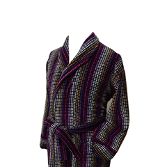 Men's Luxury Full Shawl Velour Dressing Gown - Grey and Multi Jacquard Stripes