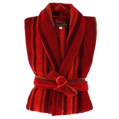 Men's Luxury Full Shawl Velour Dressing Gown - Red and Rust Jacquard Stripes