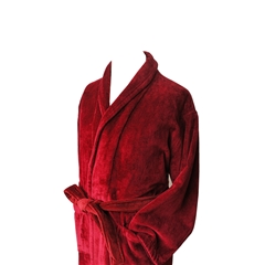 Men's Luxury Full Shawl Velour Dressing Gown - Burgundy