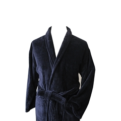 Men's Luxury Full Shawl Velour Dressing Gown - Plain Navy
