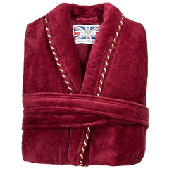 Men's Luxury Full Shawl Velour Dressing Gown - Plain Claret with Piped Edges