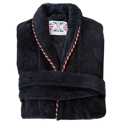 Men's Luxury Full Shawl Velour Dressing Gown - Plain Navy with Piped Edges