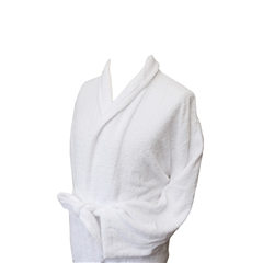 Men's Full Shawl Towelling Dressing Gown - White