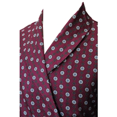Men's Lightweight Dressing Gown - Neat Wine Circle Design