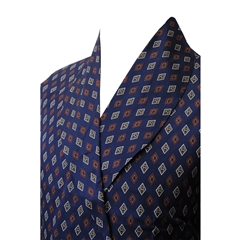 Men's Lightweight Dressing Gown - Navy Diamond Print Design