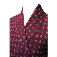 Men's Lightweight Dressing Gown - Wine Diamond Print Design