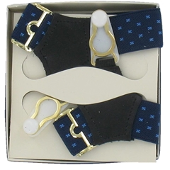 Gentleman's Sock Suspenders - Navy with Sky Blue Detail