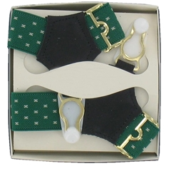 Gentleman's Sock Suspenders - Dark Green with White Detail