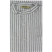 Magee Men's Thin Black Stripe Brushed Cotton Nightshirt - Black Stripe