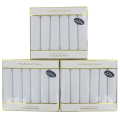 Three Boxes of White Men's Extra Large Handkerchiefs (18 handkerchiefs in total)
