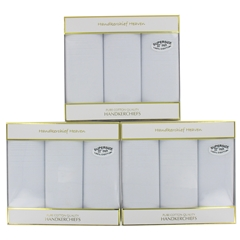 Three Boxes of Extra Large Men's White Handkerchiefs - White Cotton Hankies (9 handkerchiefs in total)
