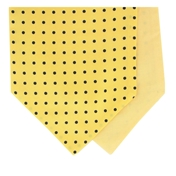 Men's Silk Cravat - Yellow With Navy Polka Dot