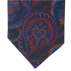 Men's Silk Cravat - Green Abstract Large Paisley