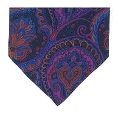Men's Silk Cravat - Purple Abstract Large Paisley