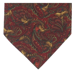 Men's Silk Cravat - Maroon Pheasant Design