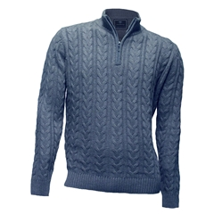 Fynch Hatton - Half Zip Cable Sweater - Dove - Size L Only