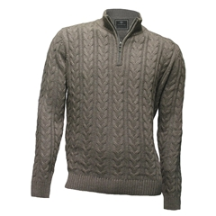 Fynch Hatton - Half Zip Cable Sweater - Taupe - Size L Only