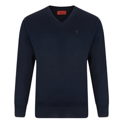 Gabicci Classic Knitted Plain V Neck - Navy