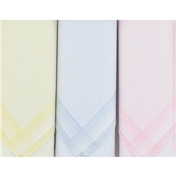 Box of 3 Pastel Colours Ladies Handkerchiefs With Coloured Borders