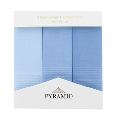 Pyramid 3 Pack Men's Coloured Handkerchiefs With Satin Stripe - Blue