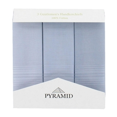 Pyramid 3 Pack Men's Coloured Handkerchiefs With Satin Stripe - Grey
