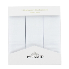 Pyramid 3 Pack Men's White Handkerchiefs With Satin Stripe