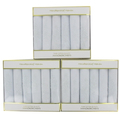 Three Boxes of Assorted White Flower Ladies Handkerchiefs (18 handkerchiefs in total)