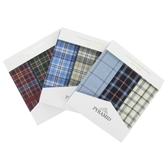Pyramid 3 Pack Men's Assorted Check Handkerchiefs