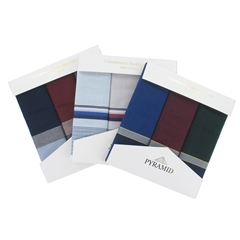 Pyramid 3 Pack Men's Assorted Multicolour Striped Handkerchiefs