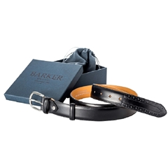 Barker Shoes Brogue Belt - Black Calf