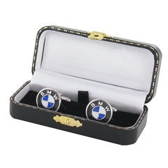 BMW Cufflinks - BMW Design Cuff Links in Black Luxury Antique Style Leatherette Gift Box