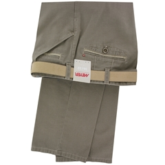 New 2016 Meyer Trouser - Taupe Cotton Fine Texture with Trim Detail