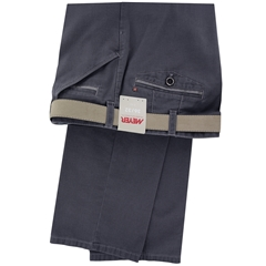 New 2016 Meyer Trouser - Navy Cotton Fine Texture with Trim Detail