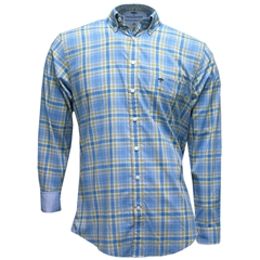 New for 2016 Fynch-Hatton Supersoft Cotton Shirt - Blue Check