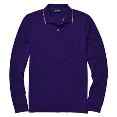 Ralph Lauren Long Sleeve Polo Shirt - Racing Purple/ Yellow Trim - M