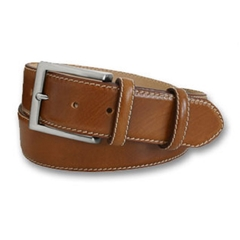 Mens Tan Leather Belt with Contrast Stitching by Robert Charles